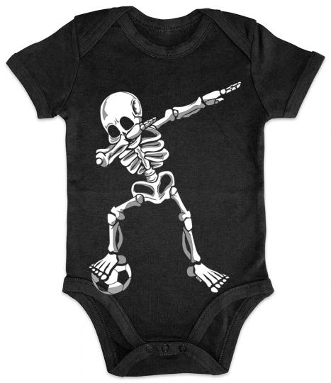 Dab Skelett mit Fussball Baby Body Kurzarm // 14 Farben. 0-24 Monate
