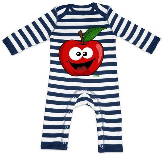 Apfel Lachend Baby Strampler Streifen // 2 Farben,  3-18 Monate