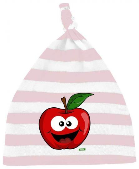 Apfel Lachend Baby Mütze Knoten Streifen // 5 Farben,  OneSize