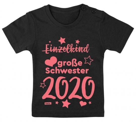 Einzelkind Große Schwester 2020 Sterne Baby T-Shirt // 14 Farben,  60 - 92