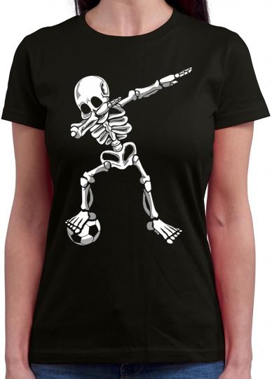 Dab Skelett mit Fussball Damen T-Shirt Rundhals // 16 Farben S-XXL