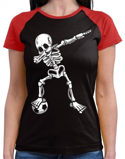 Dab Skelett mit Fussball Damen Baseball Shirt // 9 Farben, XS-4XL