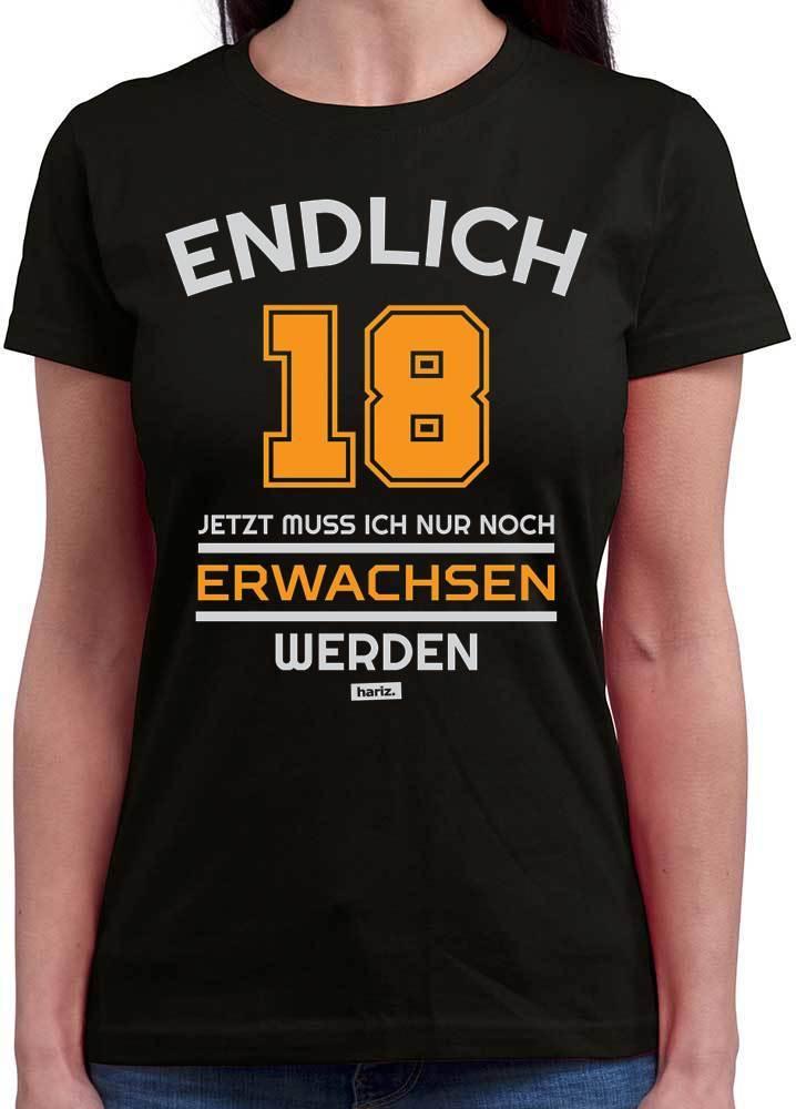 76686cd9e81c60 Jetzt Muss Ich Nur Noch Erwachsen Werden 18 Geburtstag Damen T-Shirt  Rundhals //