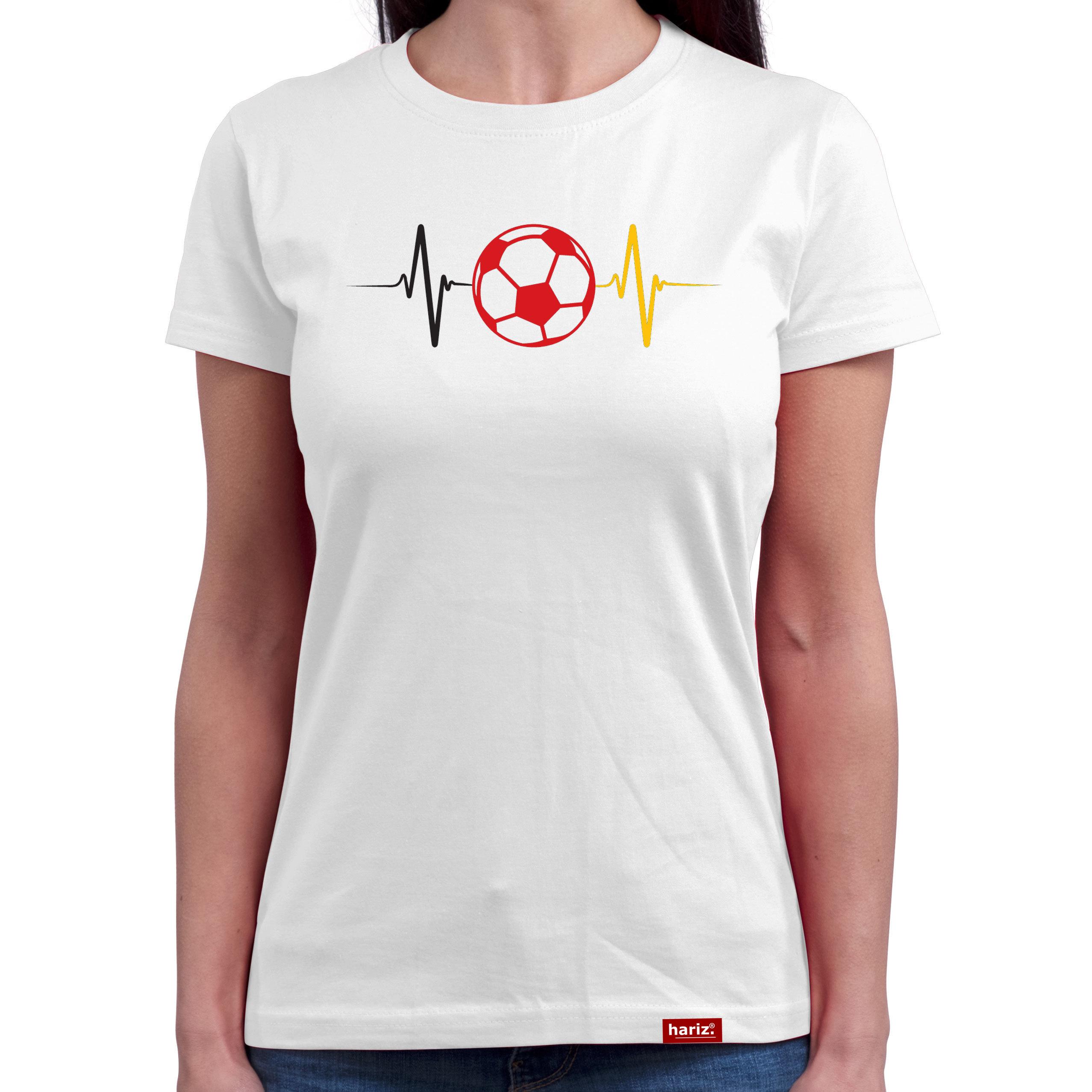 HARIZ.com   Fußball Herzschlag Damen T-Shirt Rundhals - WM // 2 ...