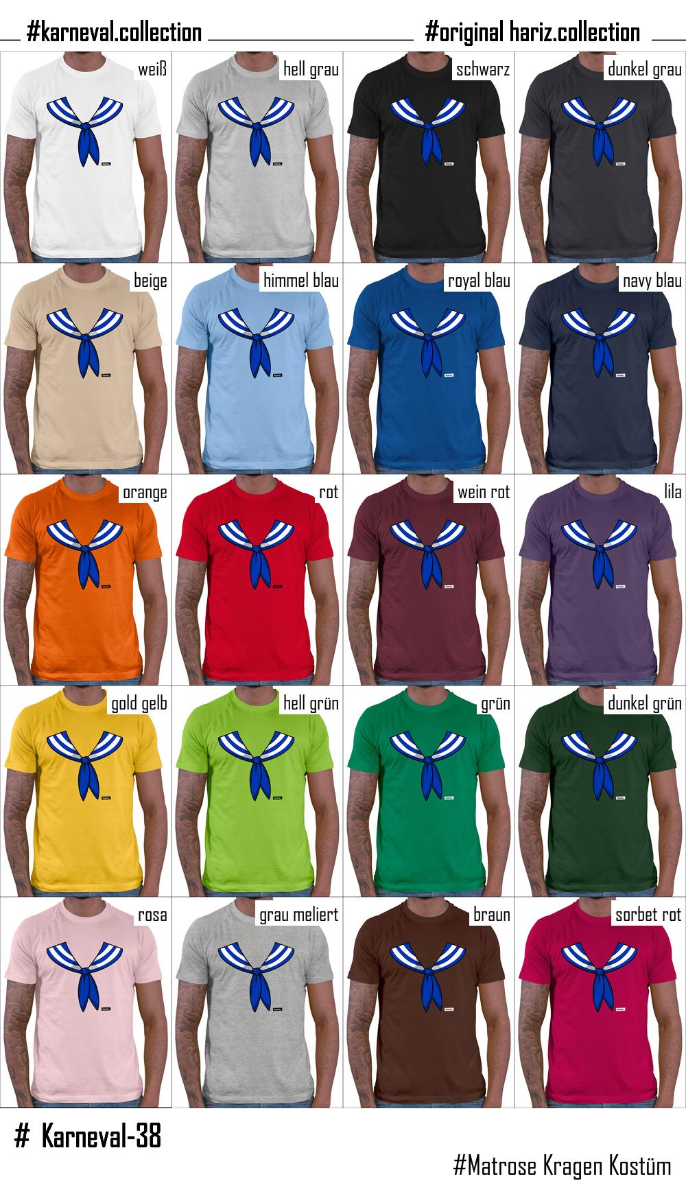676d872512402d Matrose Kragen Kostüm Herren T-Shirt    20 Farben